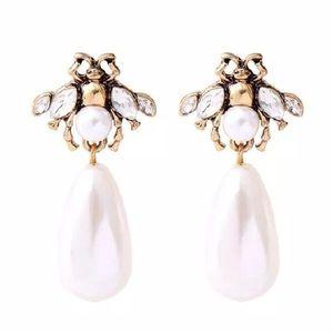 Kate Spade Pearl & Crystal Dangling Drop Earrings